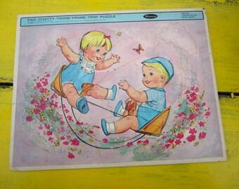 Vintage 1963 Tiny Chatty Twins Whitman Frame Tray Puzzle Nursery Decor