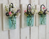 New...Chic Country Farmhouse Wall Decor...Individual Hanging Turquoise Jars...Set of 2 or 3.. Your choice of Color