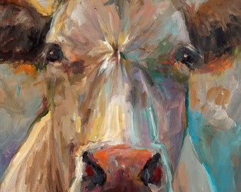 Cow Painting - Freida - Giclee Print of an Original Painting by Cari Humphry 16x20
