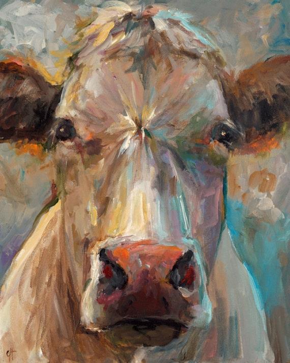 Cow painting freida giclee print of an original painting for Cow painting print