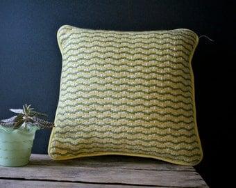 Vintage 1960s 1970s Mod Geometric Pillow Bargello Needlepoint Embroidery SALE