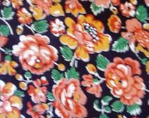 Vintage Orange and White Flowers Fabric 6 Yards