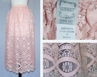 Vintage 70s 80s Gunnies Gunne Sax Jessica McClintock Light Pink Cotton Lace Skirt Boho Small 24-30 waist