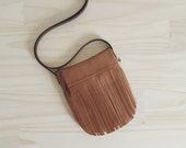 Brown Fringe Crossbody Bag, Vegan Fringe Bag, Small Fringe Crossbody