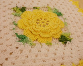 Vintage Yellow Rose Doily, Beautiful Hand Crocheted Doily, Delicate Tiny Stitches, Vintage Antique Table Dressing, Display Doily