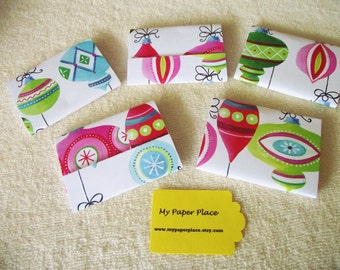 8 Christmas Ornaments Matchbook Notepads  12 - 3 x 4 inch fold over sheets-READY TO SHIP