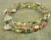 Tourmaline Czech Glass and Memory Wire Bracelet Multi Color Silver Triple Wrap