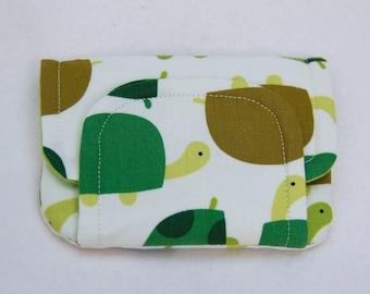 tortoises! children's fabric wallet / purse . green tortoises with green lining . kids coin purse . kids wallet