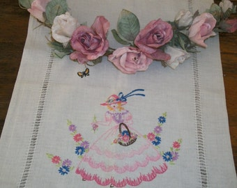 1920s Vintage White Cotton Embroidered Table Runner Old Fashioned Southern Belle and Butterflies So Pretty