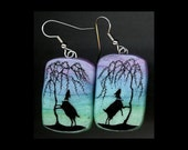 reserved for rachael p: Nigerian Dwarf Goats Silhouette Earrings. Original India Ink Drawing on Polymer Clay.  Purple Blue Green Black 4193