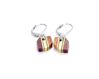 earrings / handmade / unique / natural / isabelle ferland  / wood / stainless steel