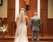 Single layer Chapel style wedding veil  white, ivory or diamond