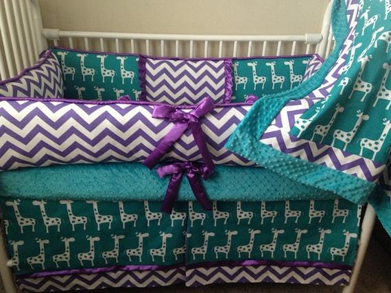 Baby Girl Bedding Crib Sets Purple And Teal Giraffe Chevron