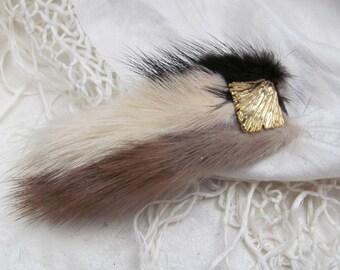 Beautiful Multi Color Real Mink Hair Barrette Clip