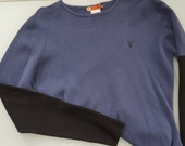 Black and Blue Knit Crewneck Streetwear Sweater from Mooks London 1990's Brit Pop! Medium