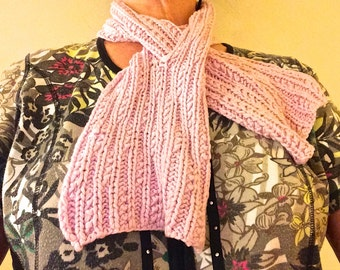pull-through pink scarf,pink knitted scarf,pink accessories,girlfriend gift,gift for her,neck warmer,hand made scarf,fashion scarf