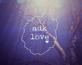 adk love decal. white vinyl outline. window decal. special price