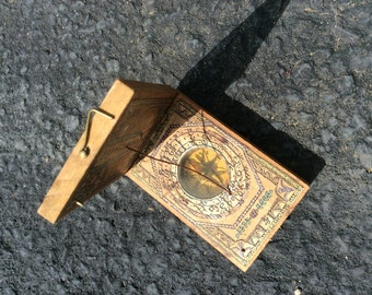 Wooden pocket sundial with compass
