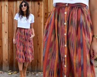 Vintage HIGH WAIST INDIAN Midi Skirt Xs S