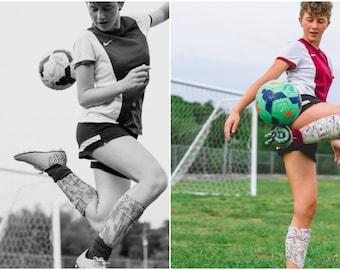 Soccer shin guard compression sleeves