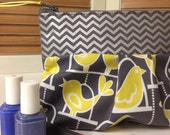 Bird on a Swing Yellow and Gray Chevron Zippy Cosmetic Bag