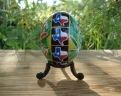 Texas, Texan, Wildflowers, Bluebonnet, Indian Paintbrush, Nature, Texas Bluebonnet, Green Easter Egg, Ukrainian, Ukrainian Pysanky - T12D