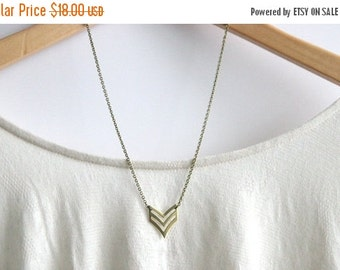 MEMORIAL DAY SALE Chevron Geometric Necklace // Brass Modern Geometric Necklace // Chevron Charm Necklace // Layering Necklace