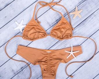 Tan Triangle Bikini set