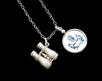Love Endures - Antique Charm Necklace Featuring Antique Stanhope Binoculars and Picture Symbol Charm Amulet