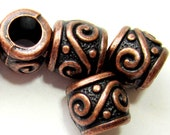 20 Large hole Red copper beads focal beads 8mm x 9mm spacer beads tibetan tribal beads 7050R