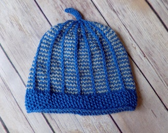 Newborn Baby Hat, Baby Boy Beanie, Knit Baby Hat