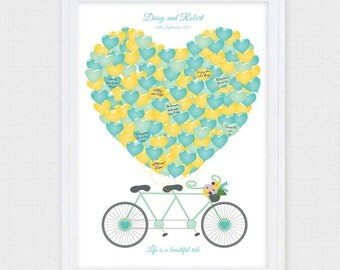 tandem bike guest book  - printable -  bicycle wedding signature guestbook alternative, engagement, balloon, personalised poster sign in art