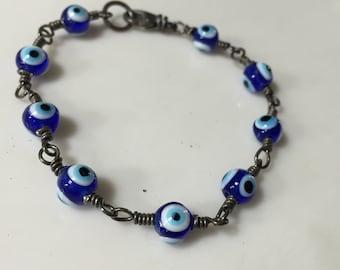 Talisman Bracelet Evil Eye Protection Czech Glass Blue Eye Beads Sterling Silver Bracelet