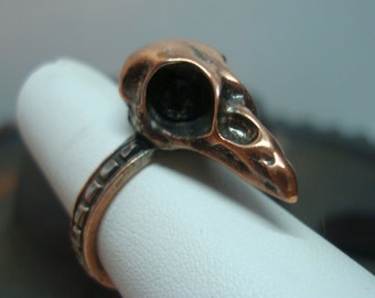 Bird Skull Ring, STRANGE BIRD, Dark Black Eyes Or No Eyes Set, Copper Ox, Size 8 Only