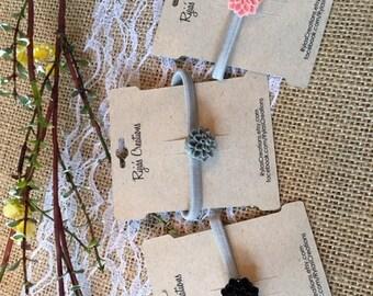 Grey Elastic Hair Tie w/Chrysanthemum Cabochon Flowers