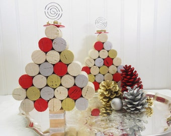 Wine Cork Mini Christmas Tree in Silver, Gold and Red, For Tabletop or Hangs!