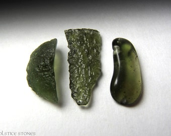 3 Raw & Polished Moldavite Pieces, Rare Extraterrestrial Stones // Crown Chakra // Crystal Healing // Mineral Specimens