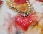 Red Glitter Heart Necklace
