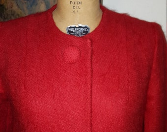 Let me Call you Sweetheart....vtg50's Bright Red Mohair Swing Valentines Day Quarter Length Swing Evening Coat...Free Size