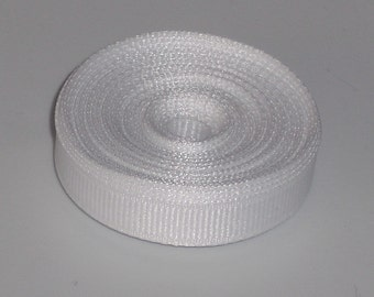 White 3/8 inch Solid Grosgrain Ribbon 10 yards