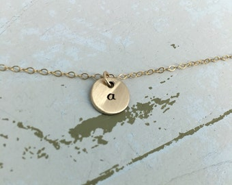 Personalized small disc choker necklace - Layering necklace - Sterling Silver or Gold-filled option - Simple choker necklace - choker