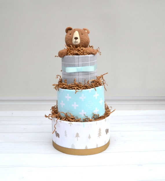 Woodland Baby Shower Decor, Woodland Diaper Cake, Bear Diaper Cake, Woodland Shower Cake, Forest Friends Shower, Woodland Creatures