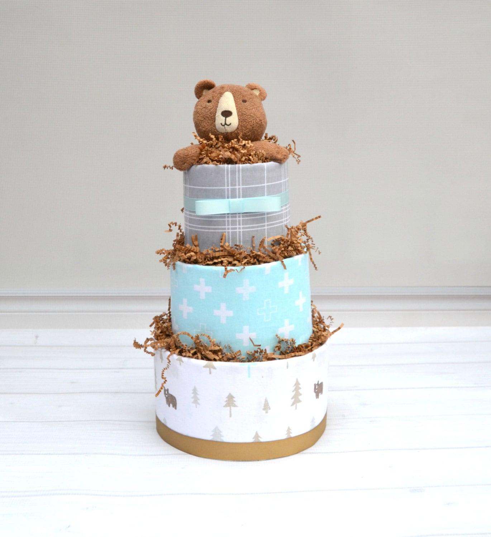 Woodland Baby Shower Decor Woodland Diaper Cake Bear Diaper Cake