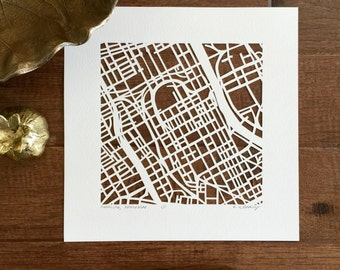 memphis, nashville, or chattanooga hand cut map
