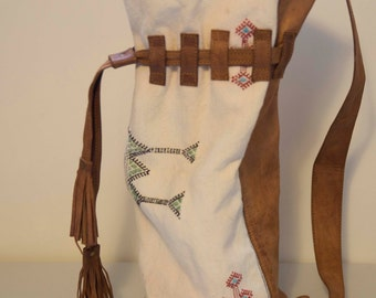 BOHO Hand Made Vintage Leather and Woven Boho Bag, Travel Bag, Southwest Boho Bag, Cross Strap Bag