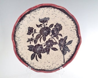 Ceramic art plate - floral plate - shallow bowl - collectible bowl - ceramic bowl - pottery plate - black & white sgraffito bowl - red bowl