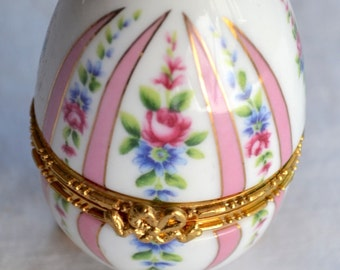 Lefton Footed Egg Trinket Box - Pastel Pink Stripe and Roses