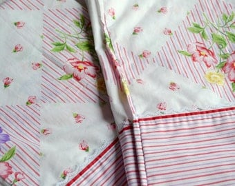 Vintage Pillowcases - Cottage Floral Stripe - Standard Size Pair