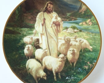 Vintage China Portraits of Jesus Hamilton Collection The Good Shepherd Collector Plate Limited Edition Christian Collectable Religious Decor