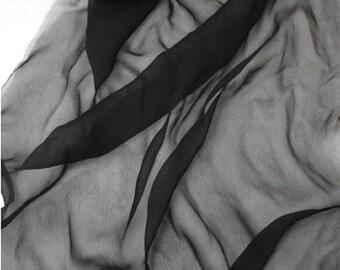 Black Silk Chiffon 8 Momme